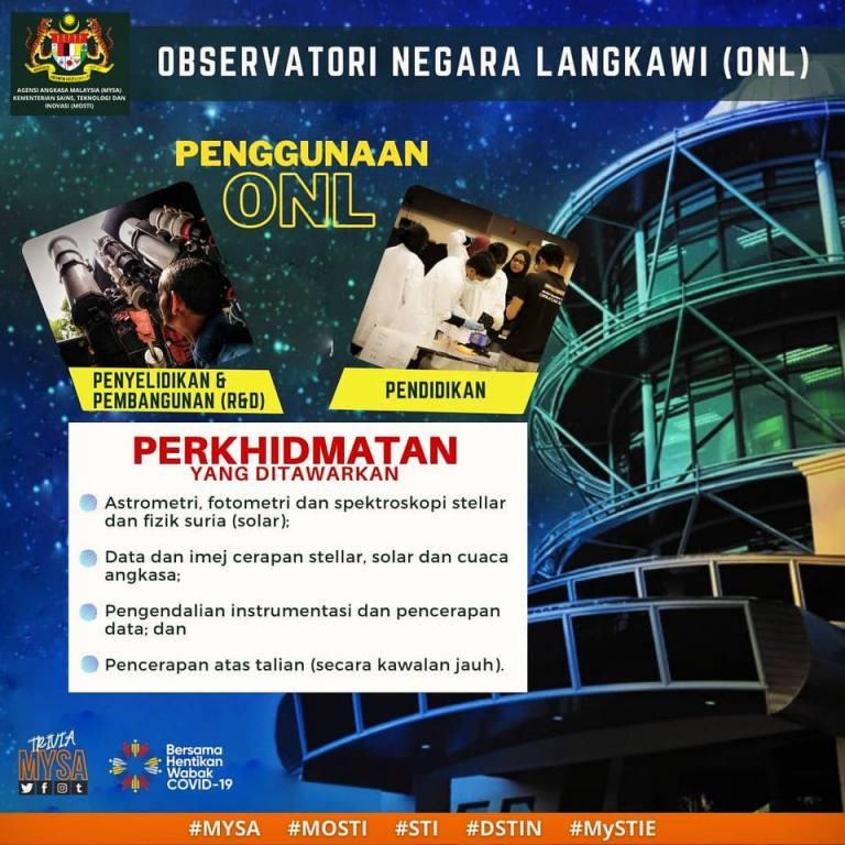 Penggunaan & Perkhidmatan Yang Ditawarkan Di Observatori Negara Langkawi (ONL)