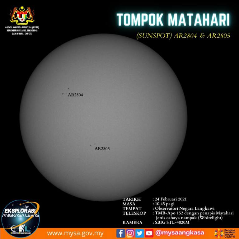 Tompok Matahari (SunSpot) AR2804 dan AR2805